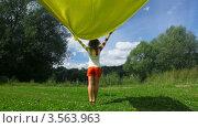 Купить «Женщина держит развевающееся желтое полотно стоя спиной», видеоролик № 3563963, снято 3 февраля 2010 г. (c) Losevsky Pavel / Фотобанк Лори