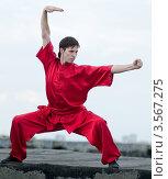 Купить «Мужчина в красном кимоно занимается ушу на фоне неба», фото № 3567275, снято 10 августа 2011 г. (c) Александр Маркин / Фотобанк Лори