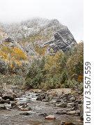 Сентябрь. Снегопад в горах. Стоковое фото, фотограф Виктория Катьянова / Фотобанк Лори