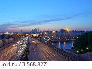 Купить «Ночной вид на Андреевский мост, Москва», фото № 3568827, снято 17 мая 2012 г. (c) Зубов Александр / Фотобанк Лори