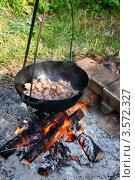 Купить «Приготовление пищи на открытом огне. Кусочки мяса обжариваются в казане», эксклюзивное фото № 3572327, снято 26 мая 2012 г. (c) Щеголева Ольга / Фотобанк Лори