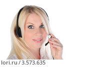 Купить «Девушка с гарнитурой держится за микрофон», фото № 3573635, снято 21 мая 2011 г. (c) Elena Monakhova / Фотобанк Лори
