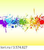 Кляксы чернил из цветов радуги в ряд. Стоковая иллюстрация, иллюстратор Виталий / Фотобанк Лори