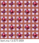 Бесшовный узор с ягодами и бабочками. Стоковая иллюстрация, иллюстратор Виктория Барашева / Фотобанк Лори