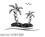 Остров с пальмами. Стоковая иллюстрация, иллюстратор Юлия Копачева / Фотобанк Лори
