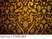 Текстура с золотистым растительным рисунком. Стоковое фото, фотограф Фотиев Михаил / Фотобанк Лори
