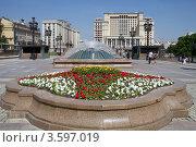 Купить «Москва. Май. Цветущая клумба и фонтан на Манежной площади», эксклюзивное фото № 3597019, снято 21 мая 2012 г. (c) Яна Королёва / Фотобанк Лори