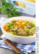 Купить «Суп с фрикадельками», эксклюзивное фото № 3597723, снято 31 мая 2012 г. (c) Александр Курлович / Фотобанк Лори