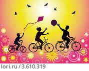 Спортивная семья на велосипедах. Стоковая иллюстрация, иллюстратор Валентина Шибеко / Фотобанк Лори