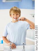 Купить «Мальчик чистит зубы в ванной», фото № 3618031, снято 14 декабря 2011 г. (c) Monkey Business Images / Фотобанк Лори