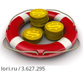 Купить «Концепция спасения финансовых средств. Монеты с символами доллара», иллюстрация № 3627295 (c) WalDeMarus / Фотобанк Лори