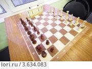 Купить «Деревянные шахматы на шахматной доске», фото № 3634083, снято 5 марта 2011 г. (c) Losevsky Pavel / Фотобанк Лори