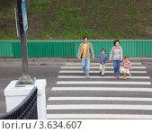 Купить «Родители с двумя детьми переходят дорогу по пешеходному переходу», фото № 3634607, снято 29 мая 2010 г. (c) Losevsky Pavel / Фотобанк Лори