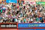 Трибуна с фанатами замерла в ожидании гола в Европейском отборочном турнире во время отборочного турнира Кубка Мира 2013 по пляжному футболу на Поклонной горе в Москве, эксклюзивное фото № 3646607, снято 3 июля 2012 г. (c) Николай Винокуров / Фотобанк Лори