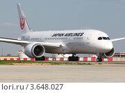 Купить «Пассажирский самолет Boeing 787 Dreamliner авиакомпании JAL», эксклюзивное фото № 3648027, снято 17 мая 2012 г. (c) Александр Тарасенков / Фотобанк Лори