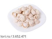 Замороженные пельмени на тарелке. Стоковое фото, фотограф Алексей Омельянович / Фотобанк Лори