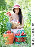 Купить «Счастливая женщина и собранные овощи», фото № 3658139, снято 22 мая 2012 г. (c) Яков Филимонов / Фотобанк Лори