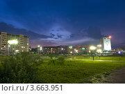 Город Братск ночью перед грозой (2012 год). Стоковое фото, фотограф OV1957 / Фотобанк Лори