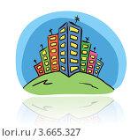 Рисунок цветных многоэтажных домов. Стоковая иллюстрация, иллюстратор Юлия Копачева / Фотобанк Лори