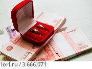 Купить «Свадебные кольца в бархатной коробке лежат на денежных пачках», эксклюзивное фото № 3666071, снято 9 июня 2012 г. (c) Игорь Низов / Фотобанк Лори