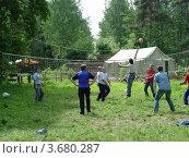 Купить «Мужчины в лесу играют в волейбол», фото № 3680287, снято 6 июня 2009 г. (c) Ирина / Фотобанк Лори