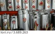 Купить «Сувенирные пули и фляги с советскими символами», видеоролик № 3689263, снято 10 июля 2010 г. (c) Losevsky Pavel / Фотобанк Лори