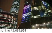 Купить «Панорама комплекса небоскребов в Москве ночью», видеоролик № 3689951, снято 10 апреля 2010 г. (c) Losevsky Pavel / Фотобанк Лори