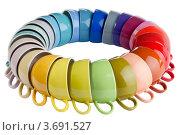 Купить «Разноцветные чашки, изолировано на белом фоне», фото № 3691527, снято 2 июня 2020 г. (c) Marina Appel / Фотобанк Лори