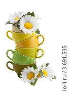 Купить «Цветные чашки и искусственные цветы ромашки», фото № 3691535, снято 2 июня 2020 г. (c) Marina Appel / Фотобанк Лори