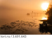 Купить «Утренний пейзаж с сильным туманом речкой и рыбаком на рассвете», эксклюзивное фото № 3691643, снято 5 июня 2012 г. (c) Игорь Низов / Фотобанк Лори