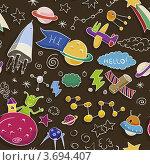Детский рисунок на космическую тему. Стоковая иллюстрация, иллюстратор Малинина Наталья / Фотобанк Лори