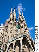 Искупительный храм Святого Семейства (Саграда де Фамилия) в Барселоне, Испания (2011 год). Стоковое фото, фотограф Артур Даминов / Фотобанк Лори