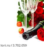 Купить «Алые розы, бокалы и бутылка шампанского на белом фоне», фото № 3702059, снято 23 июля 2012 г. (c) Наталия Кленова / Фотобанк Лори