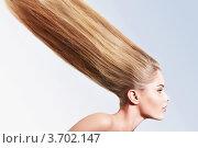 Купить «Профиль девушки с длинными прямыми волосами», фото № 3702147, снято 11 июня 2012 г. (c) Raev Denis / Фотобанк Лори