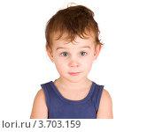 Портрет маленького мальчика в синей майке. Стоковое фото, фотограф Константин Примачук / Фотобанк Лори