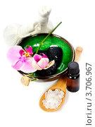 Купить «Спа-натюрморт с орхидеей, солью, мешочками для массажа и эфирным маслом», фото № 3706967, снято 8 июня 2012 г. (c) Наталия Кленова / Фотобанк Лори