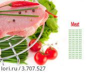 Мясо с луком и перцем на гриле, свежие овощи. Место под текст. Стоковое фото, фотограф Лариса Кривошапка / Фотобанк Лори