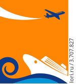 Морской пейзаж с круизным лайнером и самолетом в небе. Стоковая иллюстрация, иллюстратор Marina Zlochin / Фотобанк Лори