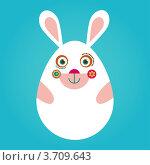 Иллюстрация на тему пасхи с белым кроликом. Стоковая иллюстрация, иллюстратор Marina Zlochin / Фотобанк Лори