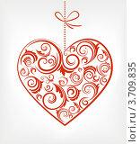 Красный орнамент в виде сердца на светлом фоне. Стоковая иллюстрация, иллюстратор Marina Zlochin / Фотобанк Лори