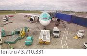 Купить «Самолет на взлетно-посадочной полосе на обслуживании», видеоролик № 3710331, снято 27 октября 2010 г. (c) Losevsky Pavel / Фотобанк Лори