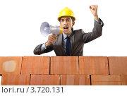 Купить «Строитель кричит в громкоговоритель и бьет кулаком», фото № 3720131, снято 22 мая 2012 г. (c) Elnur / Фотобанк Лори