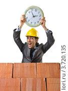 Купить «Радостный строитель держит часы», фото № 3720135, снято 22 мая 2012 г. (c) Elnur / Фотобанк Лори