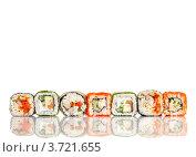 Купить «Суши-роллы на белом фоне», фото № 3721655, снято 16 мая 2012 г. (c) Андрей Армягов / Фотобанк Лори
