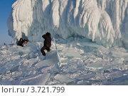 Купить «Зимний Байкал. Туристы фотографируются на фоне наплесковых льдов мыса Хобой на Ольхоне», эксклюзивное фото № 3721799, снято 7 марта 2010 г. (c) Виктория Катьянова / Фотобанк Лори