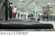 Купить «Люди бегут на беговым дорожкам в спортзале (таймлапс)», видеоролик № 3729827, снято 17 декабря 2010 г. (c) Losevsky Pavel / Фотобанк Лори