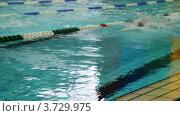 Купить «Спортсмены плавают кролем по дорожке», видеоролик № 3729975, снято 18 марта 2011 г. (c) Losevsky Pavel / Фотобанк Лори