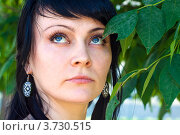 Портрет брюнетки с голубыми глазами. Стоковое фото, фотограф Ольга Алиева / Фотобанк Лори