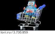 Купить «Игрушечный робот в тележке», видеоролик № 3730859, снято 7 января 2011 г. (c) Losevsky Pavel / Фотобанк Лори