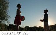 Купить «Мама и сын играют в мяч в парке на закате дня», видеоролик № 3731723, снято 1 января 2011 г. (c) Losevsky Pavel / Фотобанк Лори